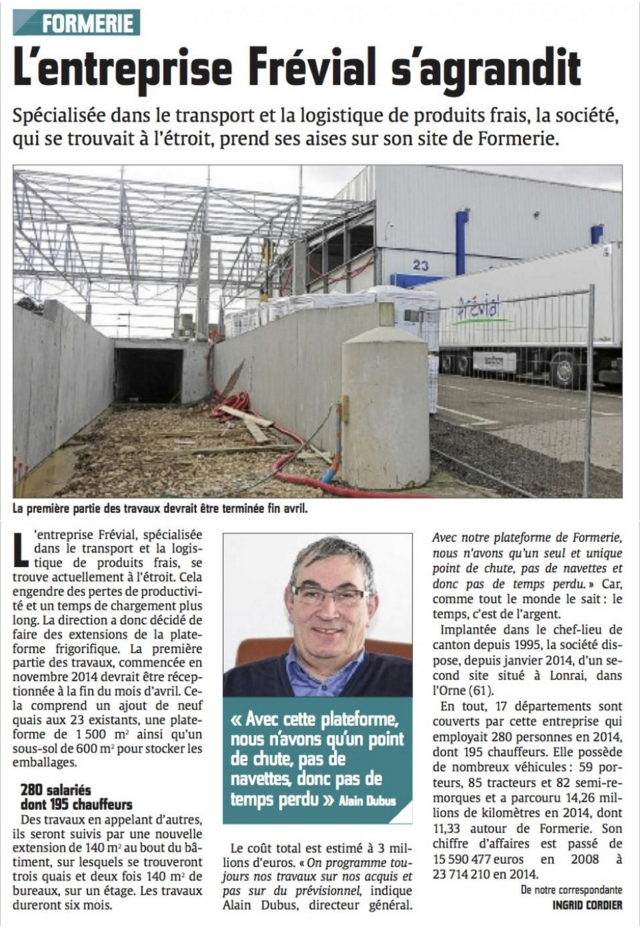 Presse - Frévial s'agrandit Mars2015