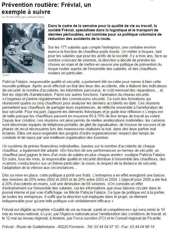 Presse - Prévention Routière Mai2005